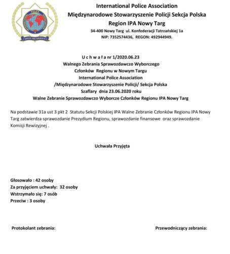 Uchwała nr 1- 2020.06.23 Walnego Zebrania Sprawozdawczo Wyborczego Regionu IPA Nowy Targ