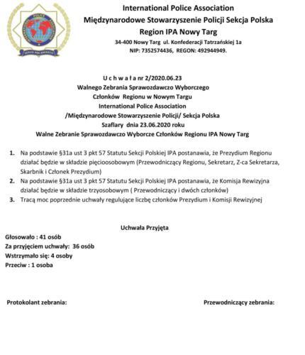 Uchwała nr 2 - 2020.06.23 Walnego Zebrania Sprawozdawczo Wyborczego Regionu IPA Nowy Targ