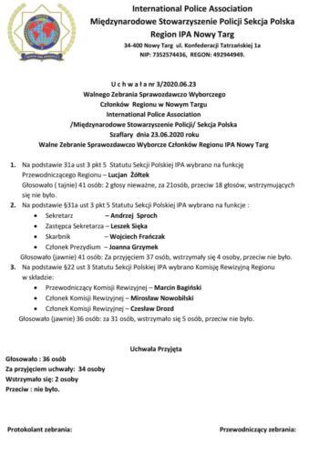 Uchwała nr 3 - 2020.06.23 Walnego Zebrania Sprawozdawczo Wyborczego Regionu IPA Nowy Targ